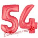 Luftballons aus Folie Zahl 54, Rot, 100 cm mit Helium zum 54. Geburtstag