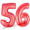 Luftballons aus Folie Zahl 56, Rot, 100 cm mit Helium zum 56. Geburtstag