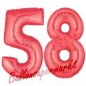 Luftballons aus Folie Zahl 58, Rot, 100 cm mit Helium zum 58. Geburtstag