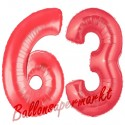 Luftballons aus Folie Zahl 63, Rot, 100 cm mit Helium zum 63. Geburtstag
