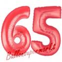 Luftballons aus Folie Zahl 65, Rot, 100 cm mit Helium zum 65. Geburtstag