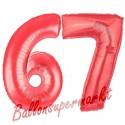 Luftballons aus Folie Zahl 67, Rot, 100 cm mit Helium zum 67. Geburtstag