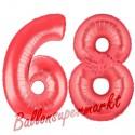 Luftballons aus Folie Zahl 68, Rot, 100 cm mit Helium zum 68. Geburtstag