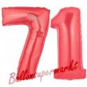 Luftballons aus Folie Zahl 71, Rot, 100 cm mit Helium zum 71. Geburtstag