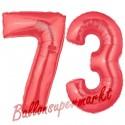 Luftballons aus Folie Zahl 73, Rot, 100 cm mit Helium zum 73. Geburtstag