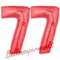 Luftballons aus Folie Zahl 77, Rot, 100 cm mit Helium zum 77. Geburtstag