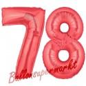 Luftballons aus Folie Zahl 78, Rot, 100 cm mit Helium zum 78. Geburtstag