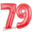 Luftballons aus Folie Zahl 79, Rot, 100 cm mit Helium zum 79. Geburtstag