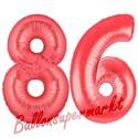 Luftballons aus Folie Zahl 86, Rot, 100 cm mit Helium zum 86. Geburtstag