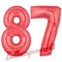 Luftballons aus Folie Zahl 87, Rot, 100 cm mit Helium zum 87. Geburtstag