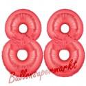 Luftballons aus Folie Zahl 88, Rot, 100 cm mit Helium zum 88. Geburtstag