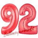Luftballons aus Folie Zahl 92, Rot, 100 cm mit Helium zum 92. Geburtstag