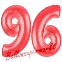 Luftballons aus Folie Zahl 96, Rot, 100 cm mit Helium zum 96. Geburtstag