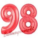 Luftballons aus Folie Zahl 98, Rot, 100 cm mit Helium zum 98. Geburtstag