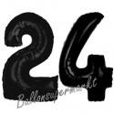 Luftballons aus Folie Zahl 24, Schwarz, 100 cm mit Helium zum 24. Geburtstag