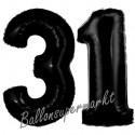 Luftballons aus Folie Zahl 31, Schwarz, 100 cm mit Helium zum 31. Geburtstag