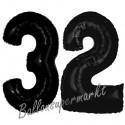 Luftballons aus Folie Zahl 32, Schwarz, 100 cm mit Helium zum 32. Geburtstag