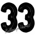 Luftballons aus Folie Zahl 33, Schwarz, 100 cm mit Helium zum 33. Geburtstag