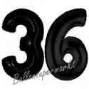 Luftballons aus Folie Zahl 36, Schwarz, 100 cm mit Helium zum 36. Geburtstag