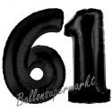 Luftballons aus Folie Zahl 61, Schwarz, 100 cm mit Helium zum 61. Geburtstag