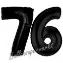 Luftballons aus Folie Zahl 76, Schwarz, 100 cm mit Helium zum 76. Geburtstag