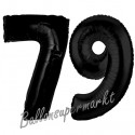Luftballons aus Folie Zahl 79, Schwarz, 100 cm mit Helium zum 79. Geburtstag