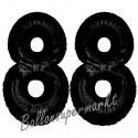 Luftballons aus Folie Zahl 88, Schwarz, 100 cm mit Helium zum 88. Geburtstag