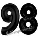 Luftballons aus Folie Zahl 98, Schwarz, 100 cm mit Helium zum 98. Geburtstag