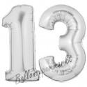 Luftballons aus Folie Zahl 13, Silber, 100 cm mit Helium zum 13. Geburtstag