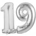 Luftballons aus Folie Zahl 19, Silber, 100 cm mit Helium zum 19. Geburtstag