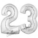 Luftballons aus Folie Zahl 23, Silber, 100 cm mit Helium zum 23. Geburtstag