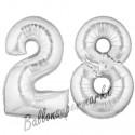 Luftballons aus Folie Zahl 28, Silber, 100 cm mit Helium zum 28. Geburtstag