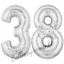 Luftballons aus Folie Zahl 38, Silber, 100 cm mit Helium zum 38. Geburtstag