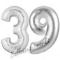 Luftballons aus Folie Zahl 39, Silber, 100 cm mit Helium zum 39. Geburtstag