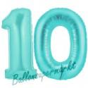 Luftballons aus Folie Zahl 10, Türkis, 100 cm mit Helium zum 10. Geburtstag
