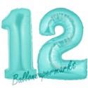 Luftballons aus Folie Zahl 12, Türkis, 100 cm mit Helium zum 12. Geburtstag
