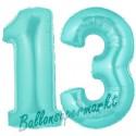 Luftballons aus Folie Zahl 13, Türkis, 100 cm mit Helium zum 13. Geburtstag