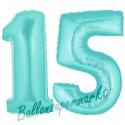 Luftballons aus Folie Zahl 15, Türkis, 100 cm mit Helium zum 15. Geburtstag