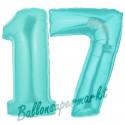 Luftballons aus Folie Zahl 17, Türkis, 100 cm mit Helium zum 17. Geburtstag