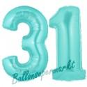Luftballons aus Folie Zahl 31, Türkis, 100 cm mit Helium zum 31. Geburtstag