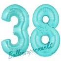 Luftballons aus Folie Zahl 38, Türkis, 100 cm mit Helium zum 38. Geburtstag