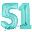 Luftballons aus Folie Zahl 51, Türkis, 100 cm mit Helium zum 51. Geburtstag