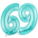 Luftballons aus Folie Zahl 69, Türkis, 100 cm mit Helium zum 69. Geburtstag