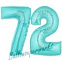 Luftballons aus Folie Zahl 72, Türkis, 100 cm mit Helium zum 72. Geburtstag
