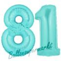 Luftballons aus Folie Zahl 81, Türkis, 100 cm mit Helium zum 81. Geburtstag