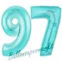 Luftballons aus Folie Zahl 97, Türkis, 100 cm mit Helium zum 97. Geburtstag