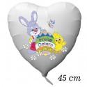 Luftballon zu Ostern, Osterhase mit Osterei, Osterküken und Schmetterling