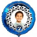 Fotoballon, blauer Rundluftballon aus Folie mit dem Foto Ihres Kindes zum Geburtstag, Motiv: Fußball, mit Geburtstagszahl. Inklusive Helium