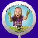 Fotoballon, weißer Rundluftballon aus Folie mit dem Foto Ihres Kindes zum Geburtstag. Inklusive Helium