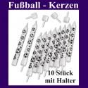 Fußball-Kerzen, 10 Stück mit Halter